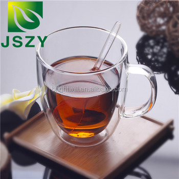 Hot sale heat-resistant glass tea cup, double walled glass beer wholesale teacup