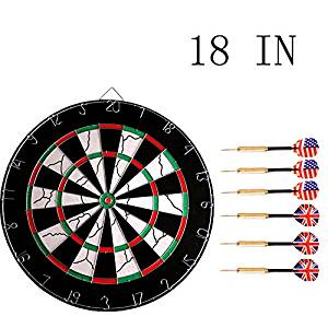 FixtureDisplays 18 inches Dart Board, Double-Sided Flocking Dartboard with 6 Brass Darts 16851-NPF!