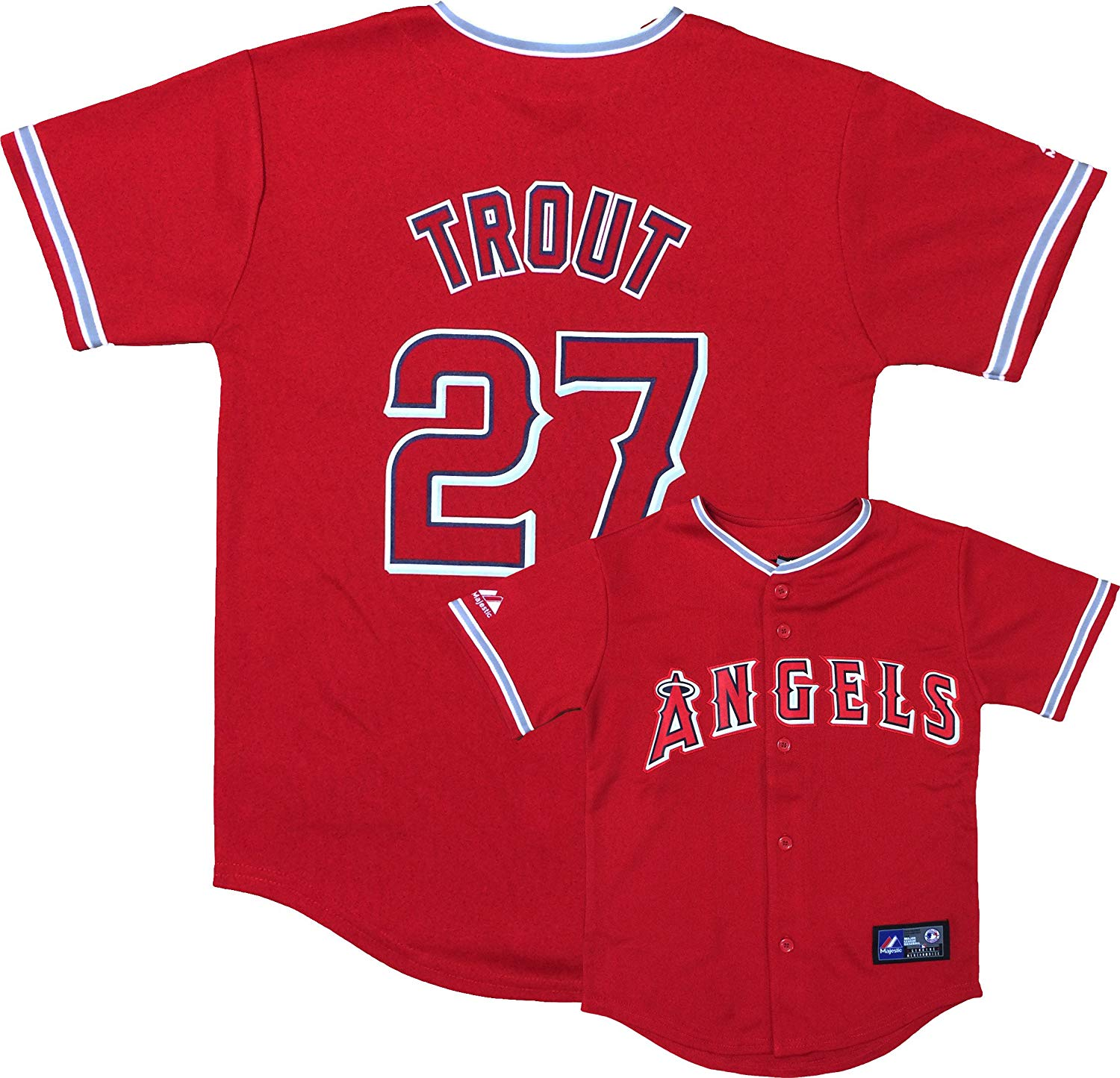Get Quotations · Outerstuff Mike Trout Los Angeles Angels Red Youth  Authentic Alternate Replica Jersey 5f09e8037