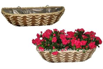 Rattan And Banana Leaf Rope Wall Basket Flower Pocket Hanging Hay Rack