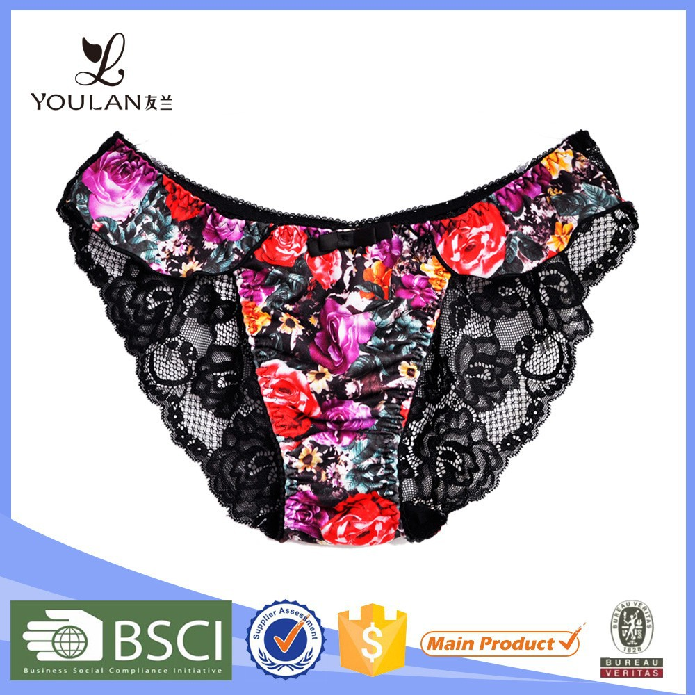 Design Good Quality Cute Girl Flower Lace Sexy Boy Short Panty