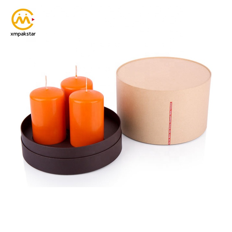 Factory custom recycled Kraft cardboard cylinder packaging paper cube candle box with logo