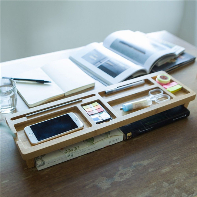 recycle bamboo Desk Supplies Organizer with Charging Station, Pencil Holder