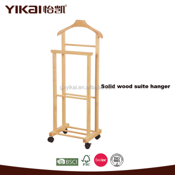 Yikai Custom Wooden Suit Hanger Stand With Bar