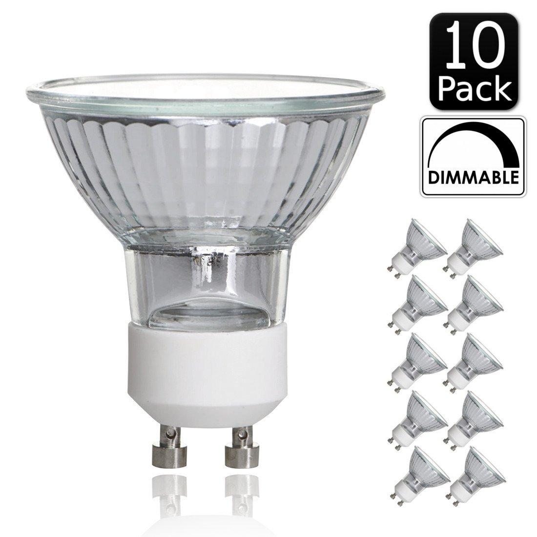 Luxrite LR20590 (10-Pack) 50W/GU10/120V 50-Watt MR16 Halogen Light Bulb, Glass Cover, Dimmable, 450 Lumens, GU10 base