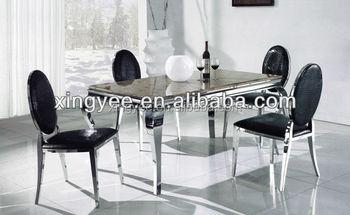 In Acciaio Inox Moderno Sala Da Pranzo Tavolo Mobili In Vetro ...