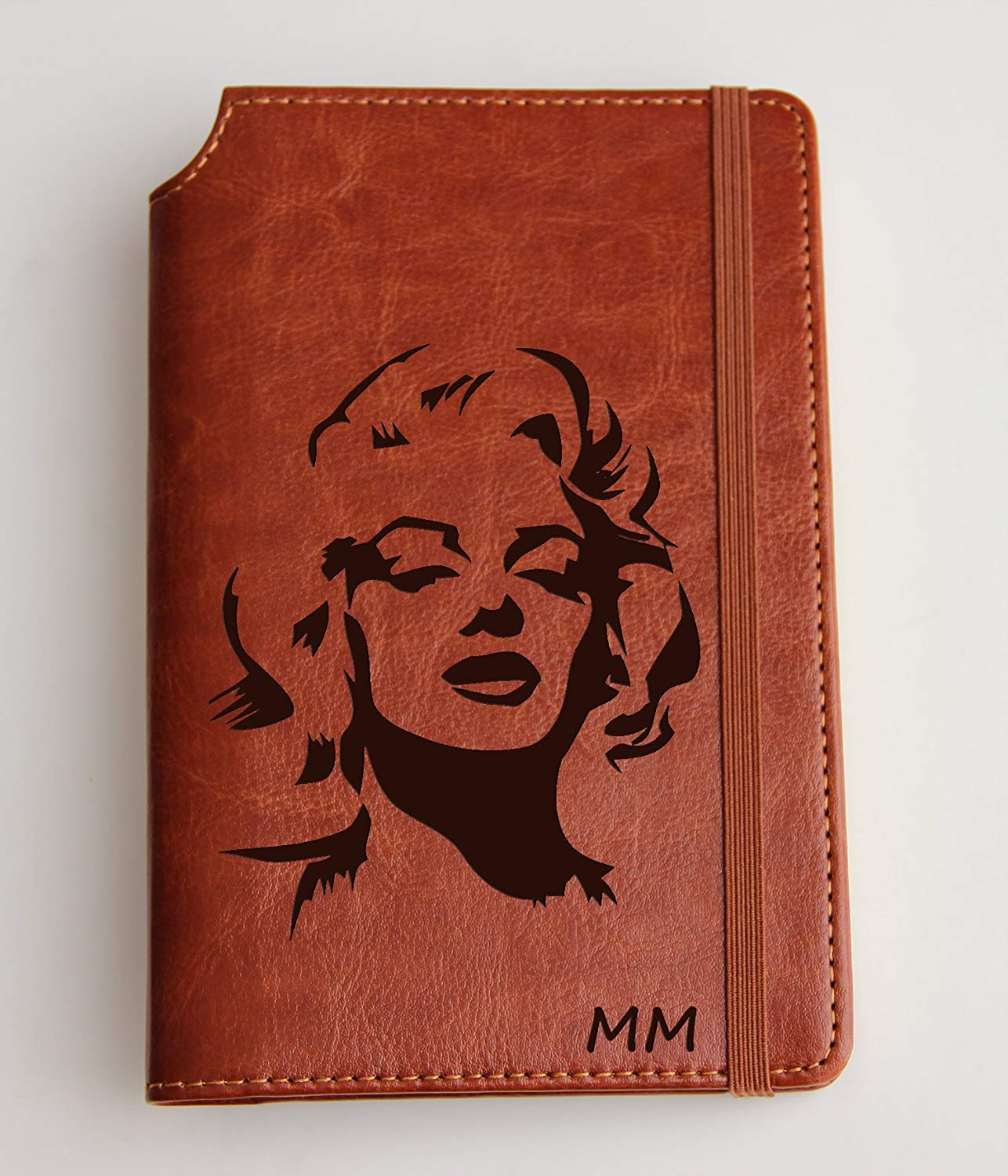 Marilyn Monroe illustrated Journal Customizable laser engraved Fully Customizable laser engraved personalized Journal with custom quote custom text leather bound with elastic band with the same color