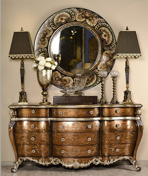 Retro Hand Painted Console Cabinet With Mirror, Elegant Gilding Chest Of  Drawers, Vintage Home
