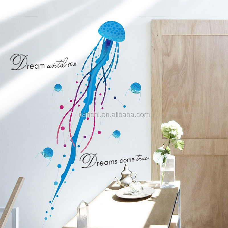 2017Jellyfish marine animals bedroom children room bathroom tiles glass decorative wall stickers