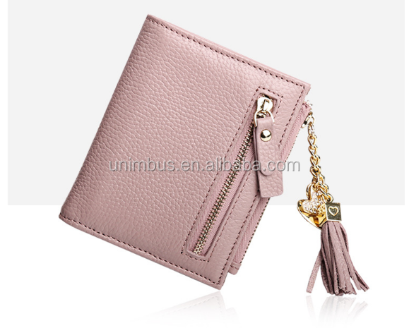 new zipper wallet genuine leather women's wallet handmade custom designer Iuxury brand wallet with small MOQ
