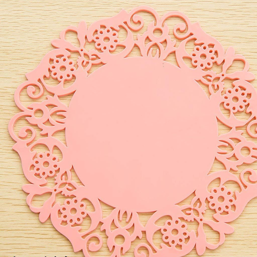 Rou0nd Silica gel Coaster Lace Flowers Coffee pad Insulation pads Non-slip coaster Dish dishes large Place mat Medium small 10 in one (Color : Pink, Size : Diameter of 19.5 cm)
