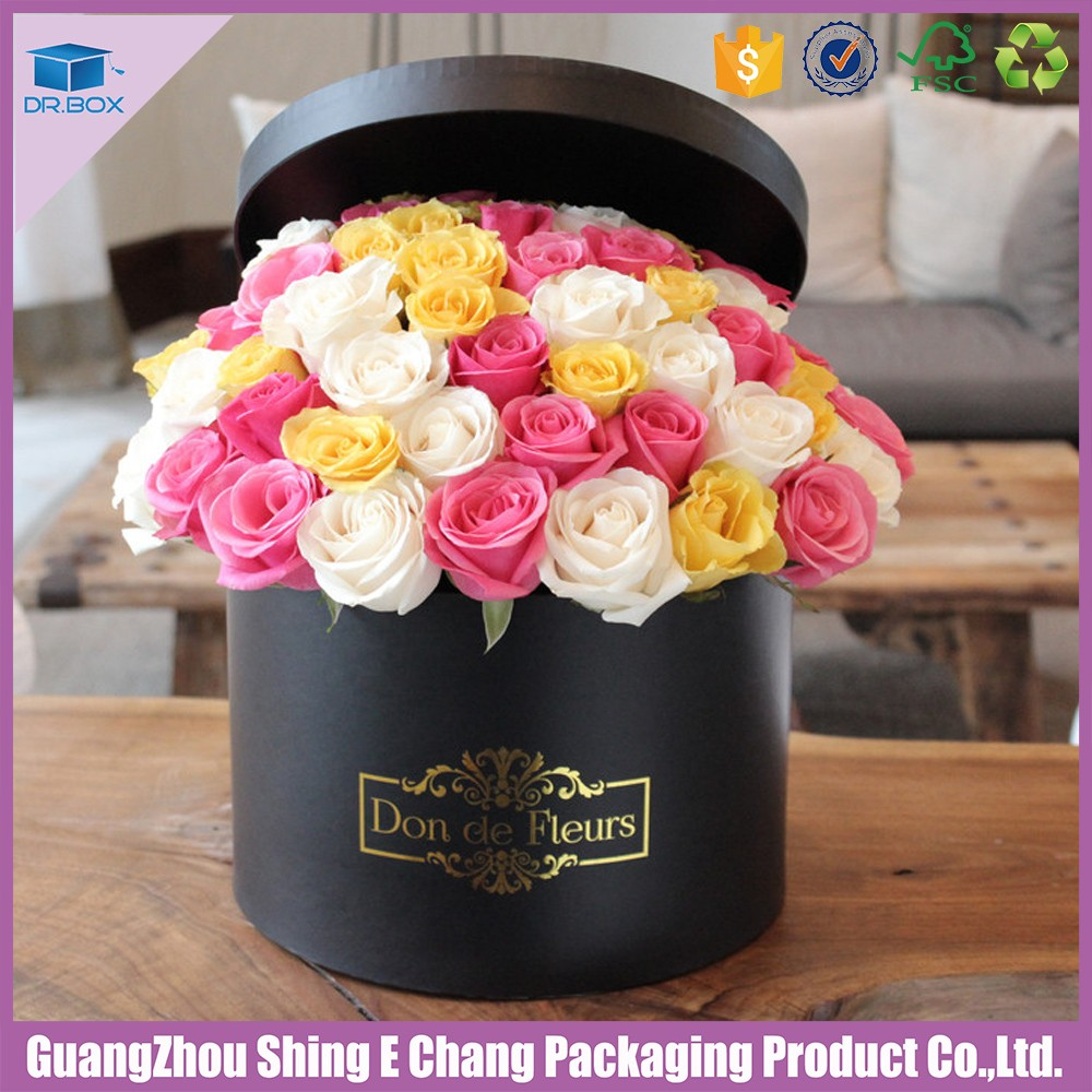 Elegant Fancy Custom Logo Round Shipping Flower Packaging Boxflower