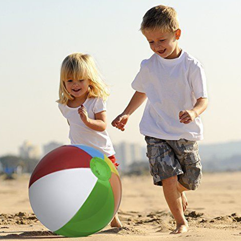 Inflatable Rainbow Beach Ball,Beach Toy Ball,Paddling ball,Water Ball,Beach Pool Party Toys for Indoor Outdoor Party Beach Kids Games Easy to Carry