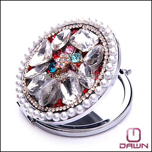 Mother's day gift fashion mini pocket mirror with big stones CD-MQ050