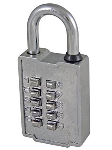 Ultra Hardware 55155 10 Digit Push Button Combination Padlock, 5 Digit Locking Mechanism, Chrome Plated by Ultra Hardware