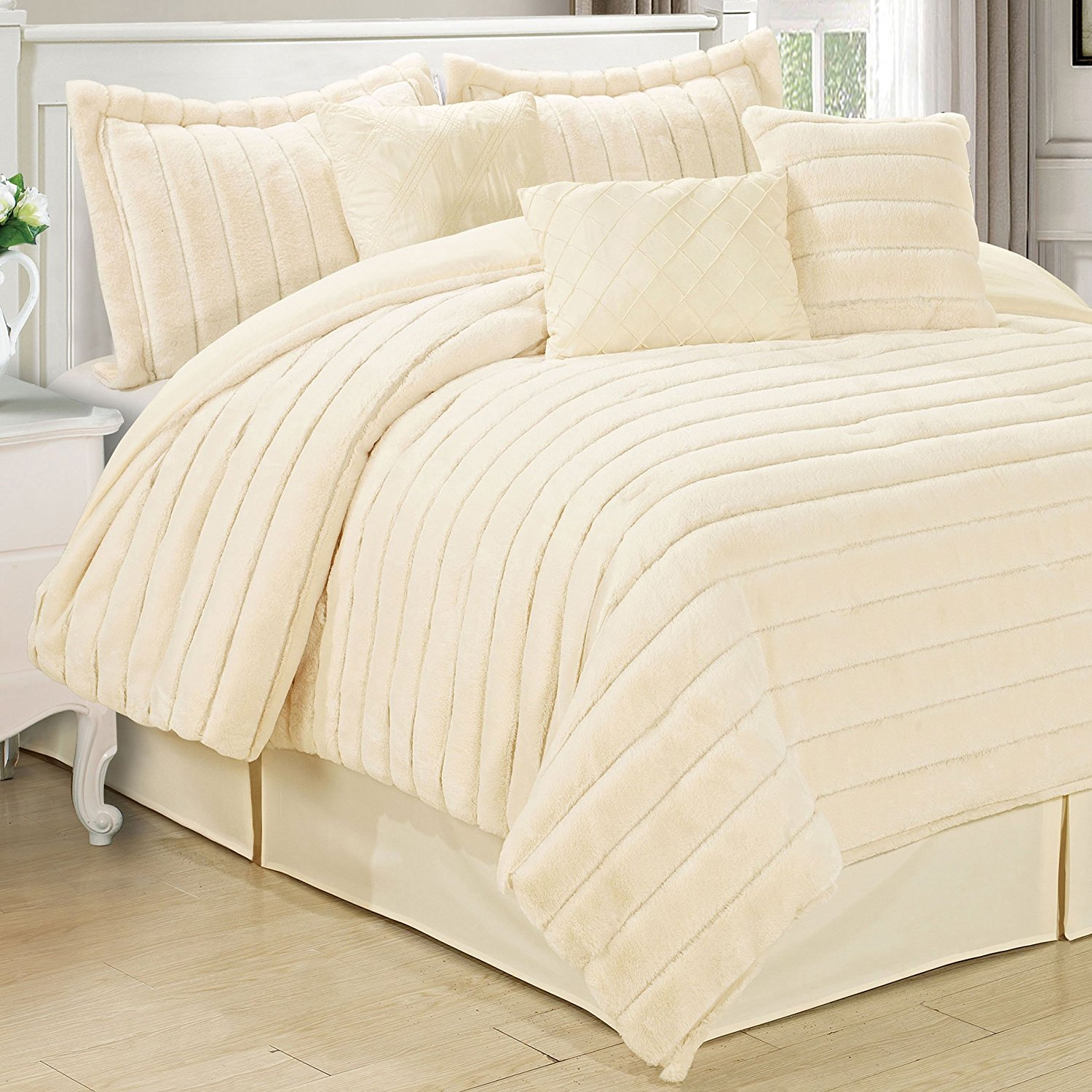 embroidery bnf first piece fur comfy set inc bedspread mink home ribbon precious relieving nights palisades comforter gh neutral carved faux