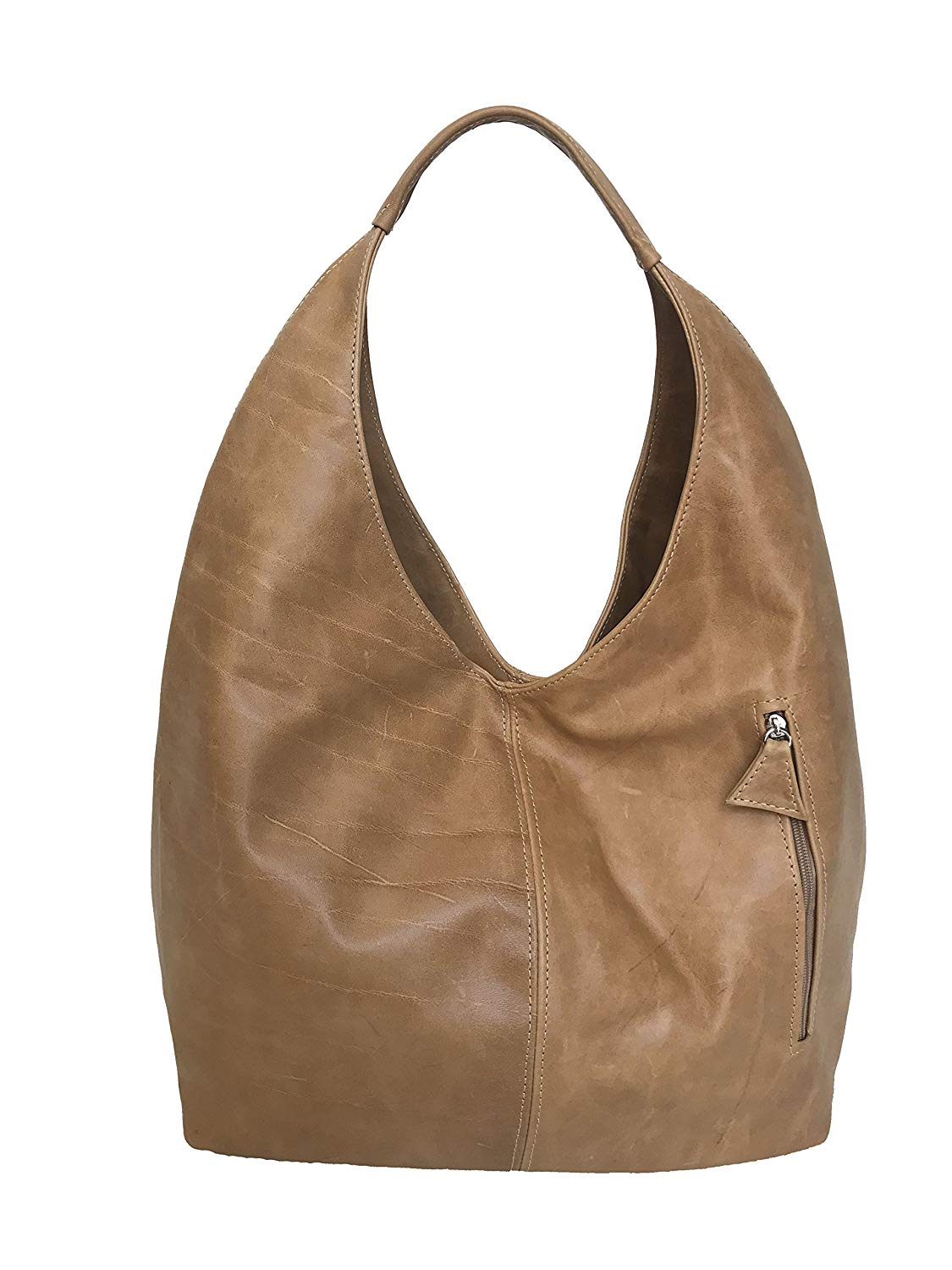 5aab74d2c5 Get Quotations · Fgalaze Distressed Camel Leather Hobo Bag w Pockets