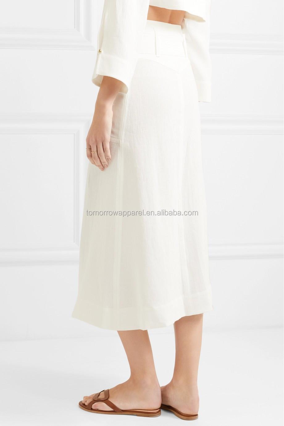 0e6c10706b6b White Linen Tie Waist Midi Summer Skirt With Button Manufacture Wholesale  Fashion Women Apparel (TA0002S)