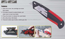 Auto change knife, spring loaded