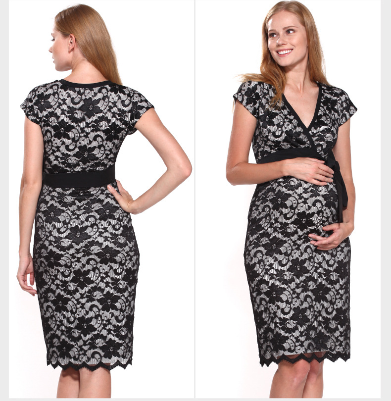 Spring Summer New Pregnant Woman Maternity Dress Clothing Clothes Temperament Full Lace Rotator Cuff Big Yards
