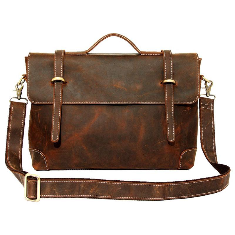 0dd28e0cd82c Get Quotations · 2015 New Retro Crazy Horse Genuine Leather Men s Briefcase  Handbag Shoulder Bussiness Zipper Laptop Notebook Messenger