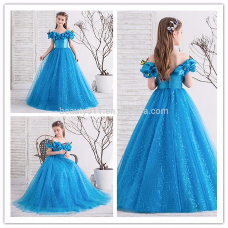 2018 Royal Blue Flower Girl Dresses for Wedding Cinderella Girls Dress  Princess Children Party Ball Gown First Communion Dress e9b8710d2a8e