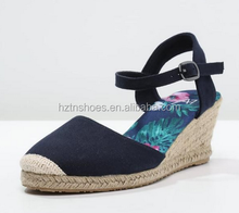 Jute Sole Espadrilles Dress Shoes Closed Toe Wedges Shoes Woman 2016