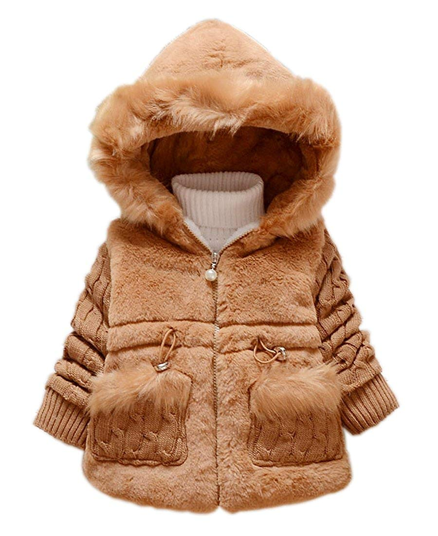 fb835fc1a Get Quotations · Toddler Kids Infant Baby Girl Knitted Sleeves Winter Warm  Coat Jacket Snowsuit