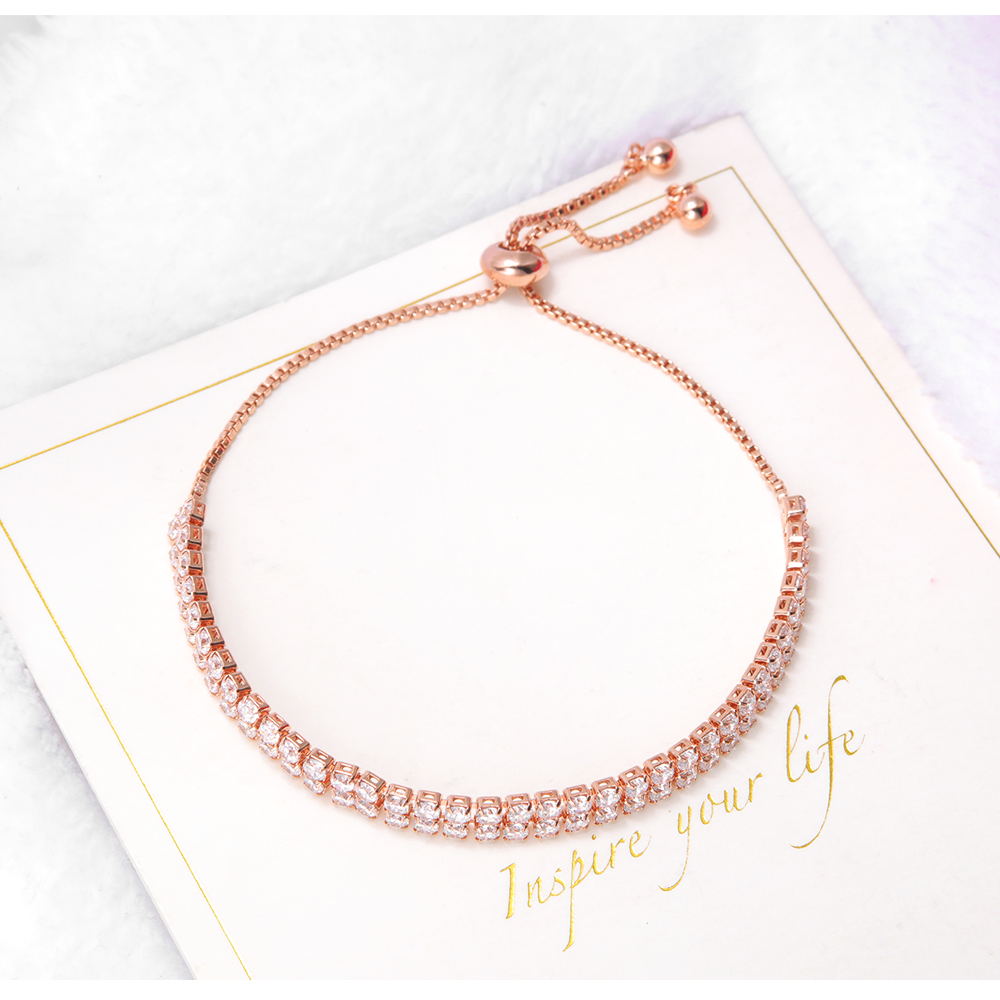 Wholesale Women Jewellery Rose Gold Adjustable AAA Cubic Zirconia Bracelet