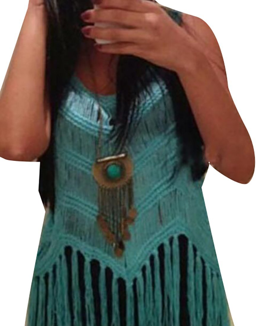 79fd30a62a6 Get Quotations · FLCH+YIGE Women Summer Crochet Fringe Tassel Tank Top Blue  OS