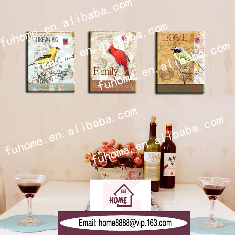 village birds canvas printing picture frame