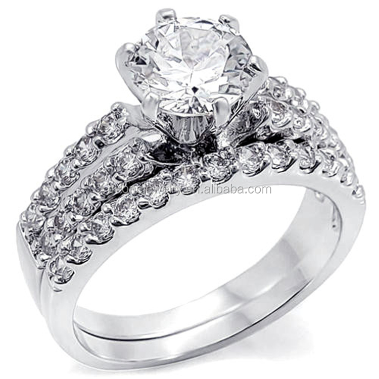 Sterling Silver Round Cut Stone Ladies Vintage engagement ring and wedding band sets