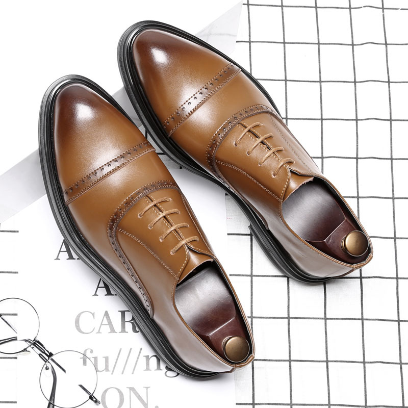 Brogues pointed toes mens leather oxford shoes for men business dress shoes