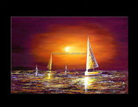 Sailing Boats Sunset Seascape Oil Painting