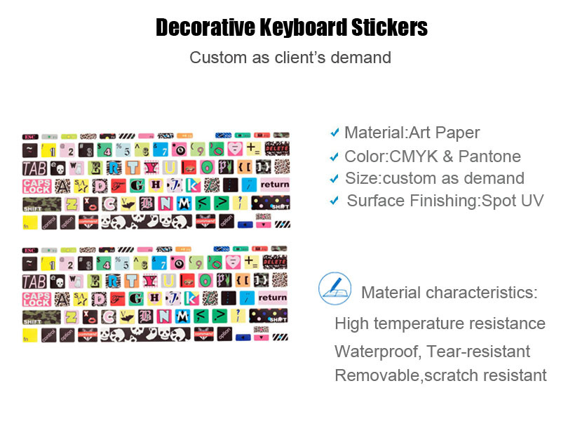 Customized Anime Keyboard Stickers Printing For Laptops In Paper Sticker