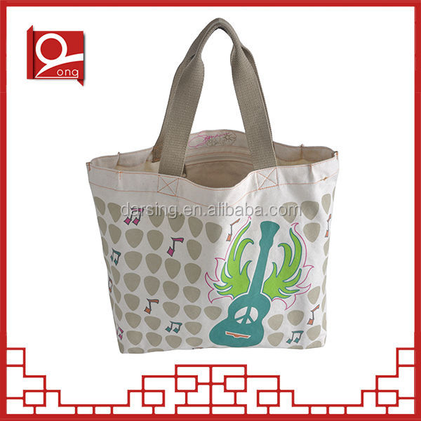 Promotional bio recyclable standard size heavy organic cotton canvas tote bag long handle