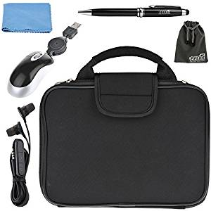 EEEKit 4 in 1 Travel Solution Kit for ASUS Chromebook Flip 10.1-Inch C100PA 2 in 1 Laptop,Carrying Briefcase Sleeve Case Handbag Bag,Wired Mouse and Earphone