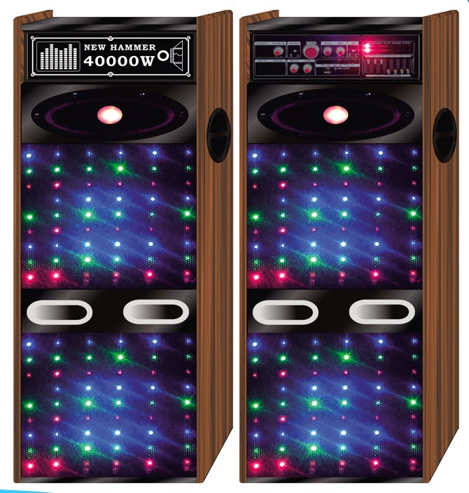 Ativo Amplificador De Madeira DJ Speaker Com LED Spot Light Bluetooth Seaker DX007