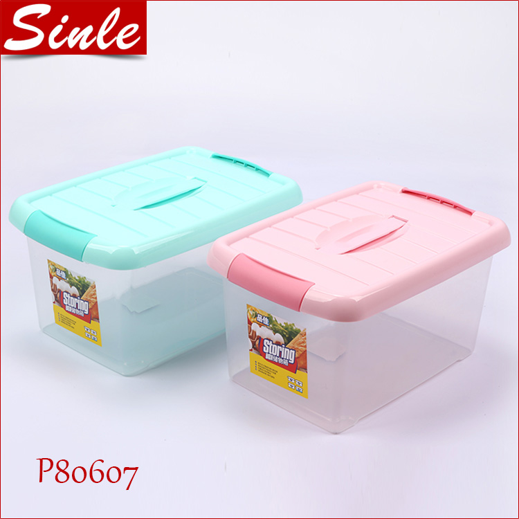 Factory transparent plastic car storage box case with lid handle for storage
