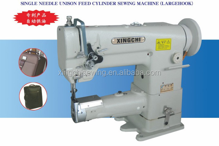 Single Needle Cylinder Arm Triple Feed Industrial Leather Sewing ...