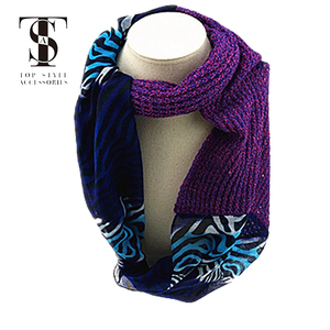 New arrival fashion style muslim lady scarf infinity three color stitching two combinations not with tassel
