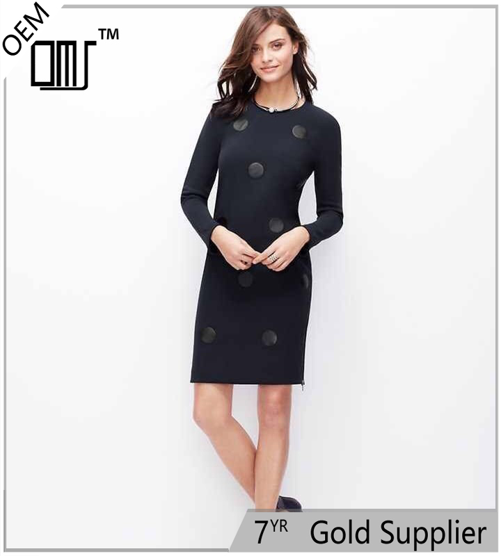 2017 Latest Design For Women Round Neck Long Sleeves Ann Taylor Dresses