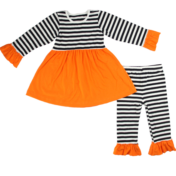 Baby fall boutique outfits halloween boutique dresses o neck tunic top and stripe ruffle pant sets wholesale girls outfits