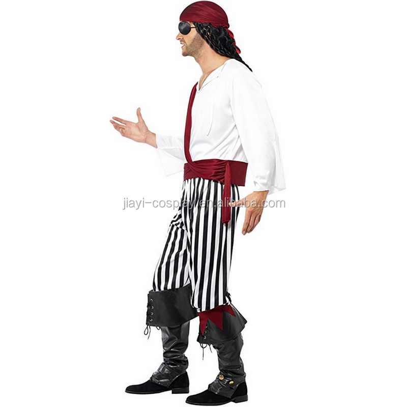Captain Jack Sparrow Pirates of the Caribbean Halloween Party Pirate Cosplay Costume