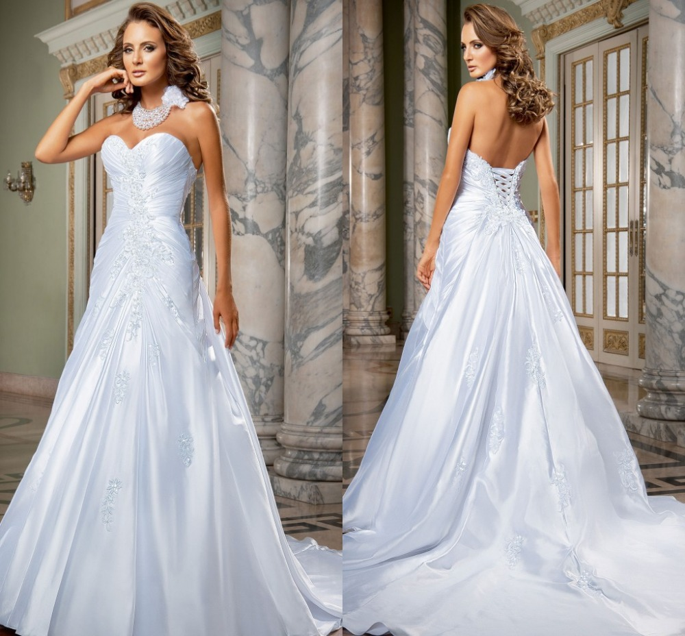 Silk Taffeta Wedding Gowns: Aliexpress.com : Buy Simple Style Sweetheart A Line 2015