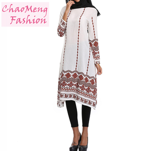 082# 2018 New Arrival Swing Loose Women Print Long Sleeve T shirt Tunic Tops Muslimah Blouse Islamic Clothing