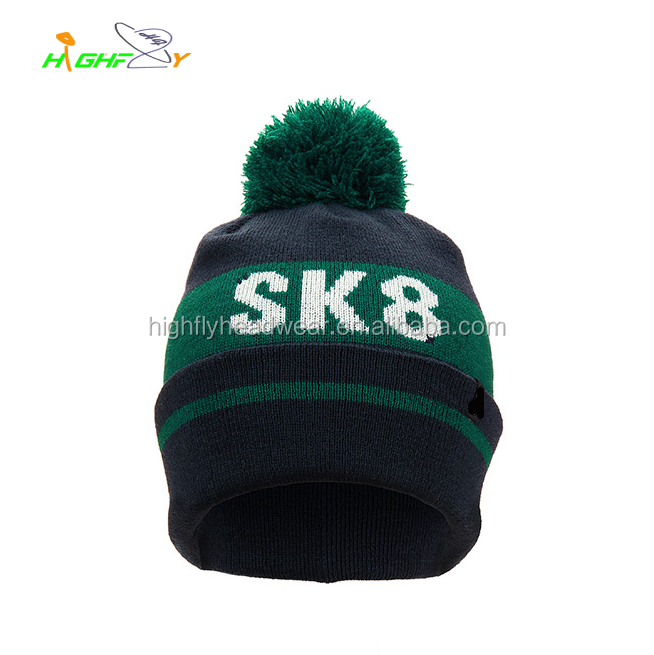 China custom hot sale letter PANTONE printed knit stripe jacquard weave winter pom pom beanie hat sports cap without visor