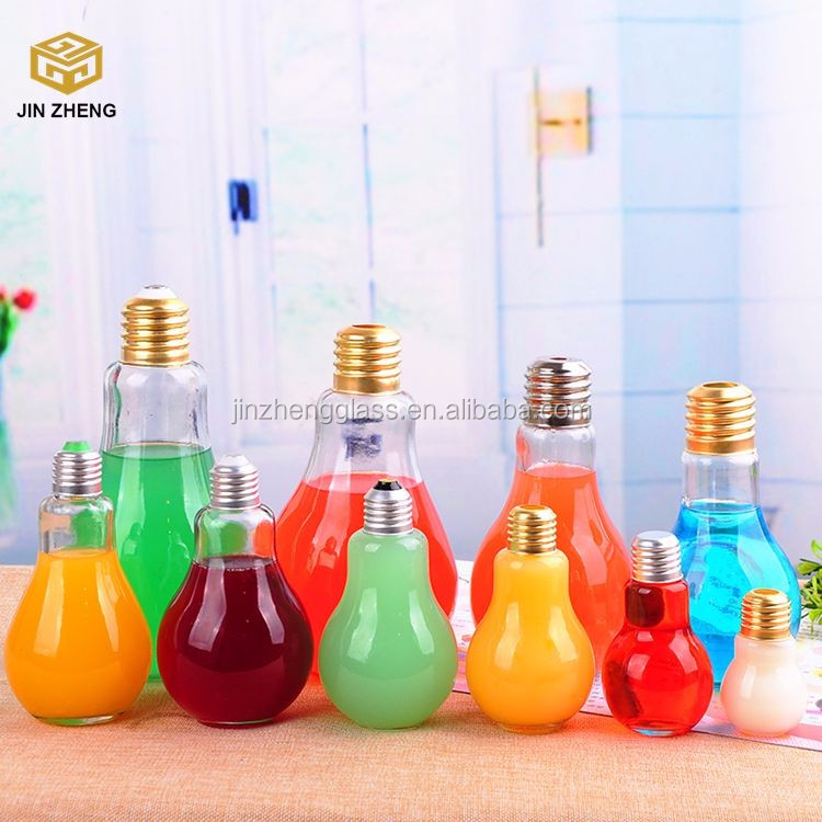 Glass Milk Juice Beverage Light Bulb Bottles with Gold Silver Lid