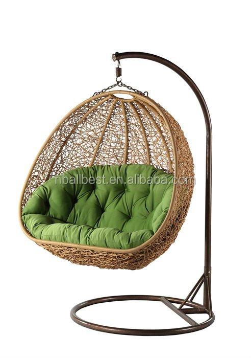 venta caliente colgante de huevo silla cojines barato poli mimbre silla colgante
