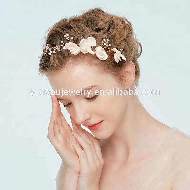 2018 Wholesale Handmade Artificial Flowers Pearl Tiaras Crown Wedding Bridal Hair Accessories Headpiece For Girls